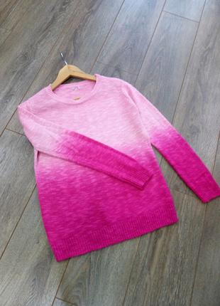 СВИТШОТ свитер джемпер пуловер  связанный розовый с градиентом