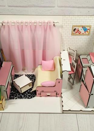 Кукольный домик.Квартира-студия + мебель + обои + шторки + тек...