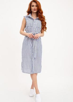 Платье-рубашка в полоску из льна