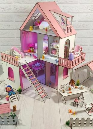 Кукольный домик с мебелью и двориком для лол.