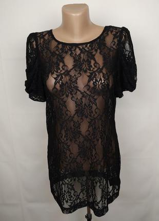 Блуза гипюровая новая шикарная f&f uk 12/40/m