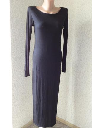 Черное платье с длинным рукавом brezza р.m-l