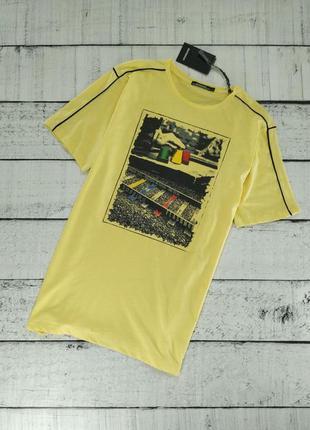 Футболка мужская желтая с принтом sorbino (26254)