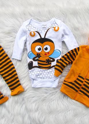 Комплект набор боди кофта с капюшоном и брюки штаны пчелка domino