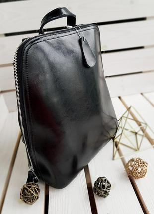 Женский кожаный рюкзак 🎒 чёрный