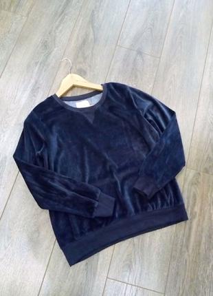 темный  синий велюровый бархатный свитшот свитер джемпер пуловер
