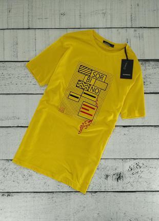 Футболка мужская желтая с принтом sorbino (26253)