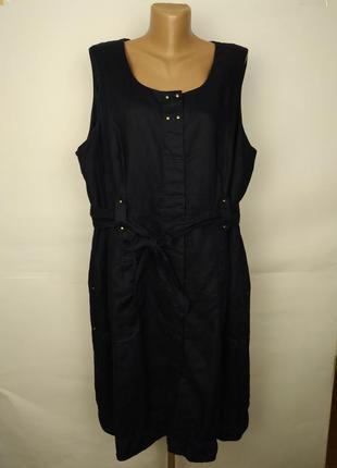 Платье льняное натуральное красивое синее большой размер marks...