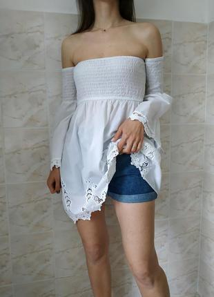 Женская белоснежная блуза, модная блузка с открытыми плечами, ...