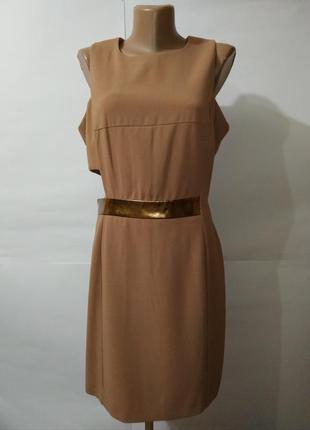 Платье миди футляр новое стильное бежевое asos uk 12/40/m
