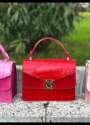 Красная сумка натуральная кожа италия