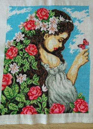 """Вышитая картина """"Девушка и цветы"""""""