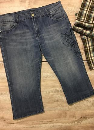 Джинсовые стрейчевые длинные шорты бриджи большого размера