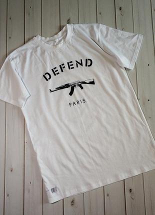 Мужская футболка белого цвета с логотипом defend paris, девенд...