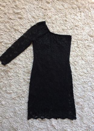 Платье гипюр кружево на одно плечо мини zebra