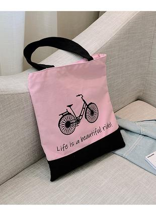 Эко-Сумка розовая с велосипедом