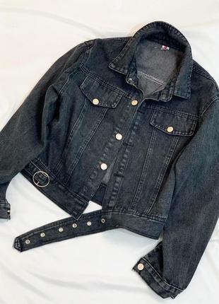 Короткая джинсовая куртка графит