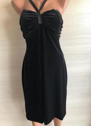 Платье велюровое чёрное chou