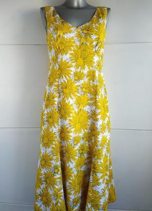 Льняное платье-миди marks & spencer с принтом ромашки