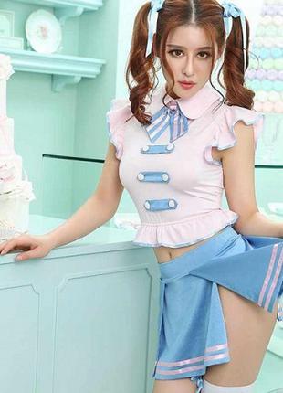 Эротический костюм - Японская Школьница, 5 предметов, O/S