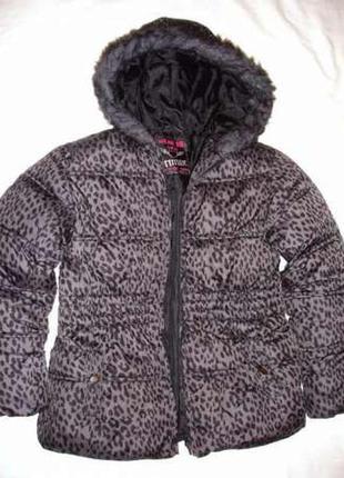 Рост 140-146 см куртка детская леопард серая синтепон утепленн...
