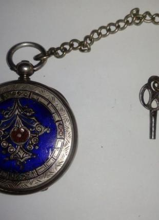 Серебряные карманные часы с эмалью, ключевка, на ходу