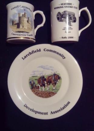 Тарелка и две кружки, разные, сувенирные