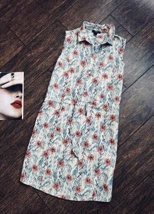 Очень стильное льняное цветочное  платье