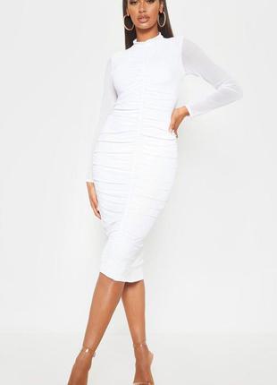 Длинное белое платье резинка 🔥 платье миди prettylittlething 🔥...