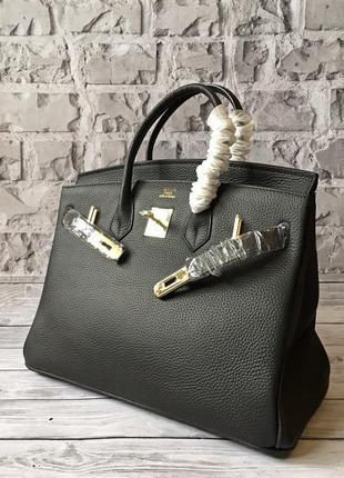 Женская сумка в стиле hermès birkin натуральная кожа