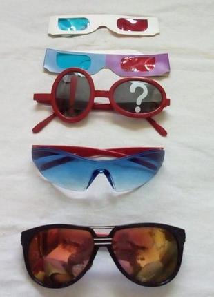 Все 5 очков одним лотом/солнцезащитные очки/очки 3d/окуляры/очки
