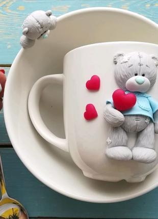 набір чашка і тарілка з декором із полімерної глини