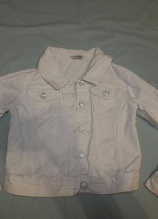 Джинсовая куртка жакет модная белая на девочку 10-11 лет 140-1...