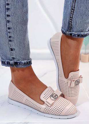 Новые женские бежевые туфли балетки