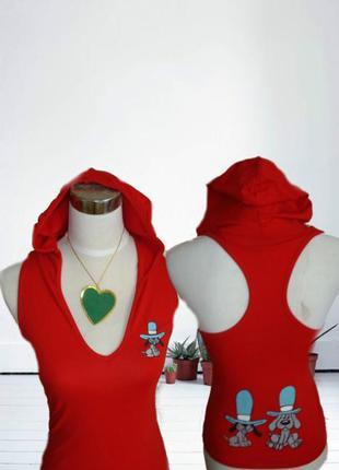 🌹🌹майка борцовка красная с капюшоном с мультяшными героями  ту...