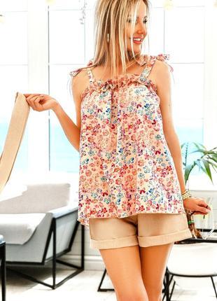 Костюм блузка - евробенгалин, шорты - лен-габардин, 2 цвета 42-46
