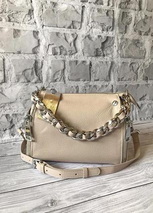 Натуральная кожаная женская сумка polina & eiterou 2 ремня