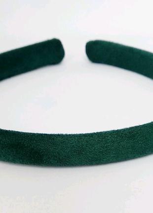 Обруч на голову ободок замша зеленый