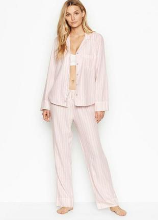 Фланелевая пижама в класическую розовую полоску victoria's sec...