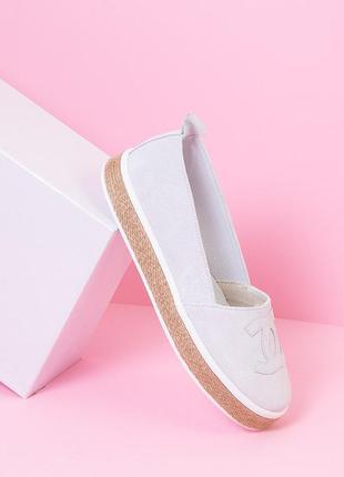 Эспадрильи замшевые белые р36-40 балетки туфли слипоны мокасин...