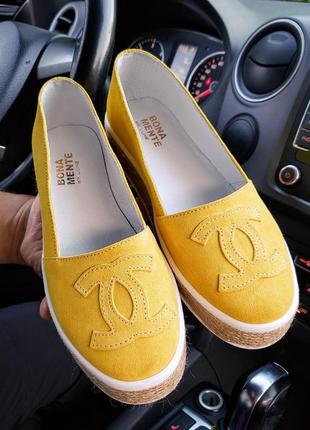 Эспадрильи замшевые жёлтые р36-40 балетки туфли слипоны мокаси...