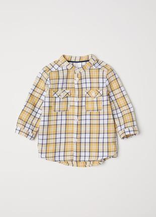 Рубашка без воротника в клетку
