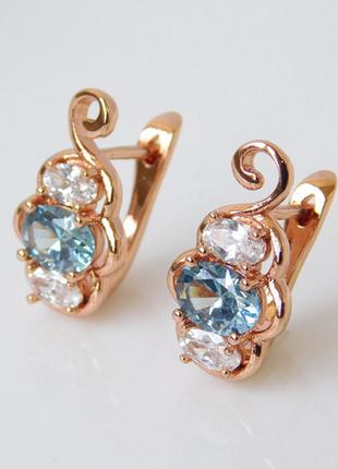Серьги с голубыми камнями, позолоченные серьги, позолота