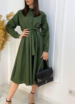 Платье - рубашка с поясом хаки
