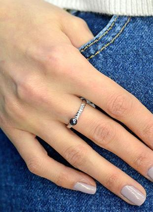 """Серебряное кольцо """"твист"""" с натуральным жемчугом авторская работа"""