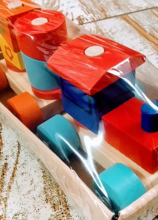 Деревяннай паровоз каталка геометрика