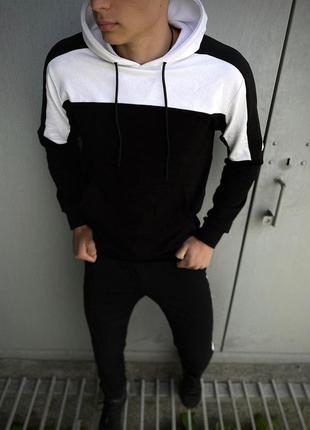 Мужской спортивный костюм черный-белый intruder + подарок