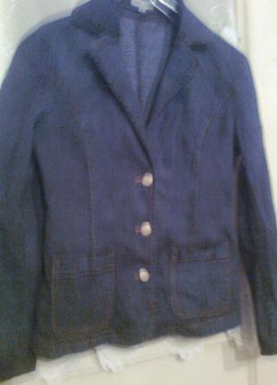 """Джинсовый пиджак с еарманами, на пуговицах, """"манго"""""""