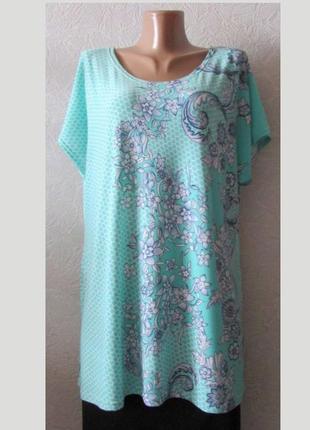 Стильная туника платье мята, большой размер!