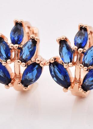 Серьги с синим камнем, позолота, сережки позолоченные с синими...
